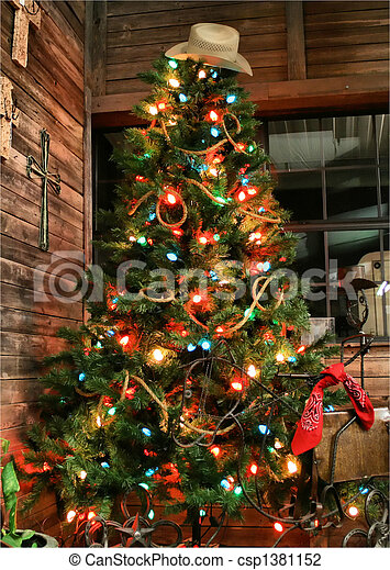 Cowboy Christmas Tree A Cowboy Christmas Tree With Lights