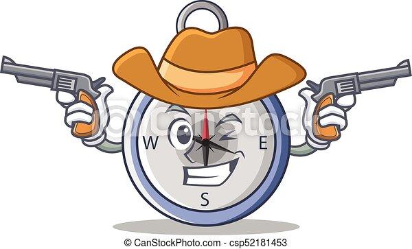 Cowboy compass character cartoon style - csp52181453