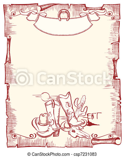 Cowboy elements . wild western background .Vector scroll - csp7231083