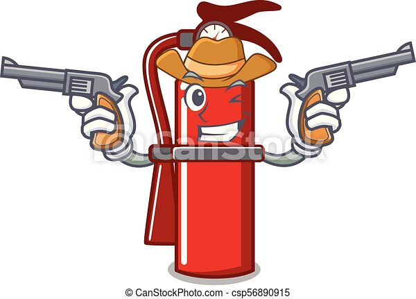 Cowboy fire extinguisher character cartoon - csp56890915