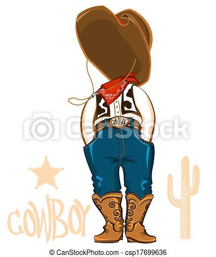 Cowboy, freigestellt, white., kleidung. Cowboy, abbildung, design ...