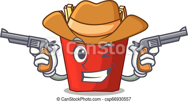 Cowboy french fries above cartoon table wood - csp66930557