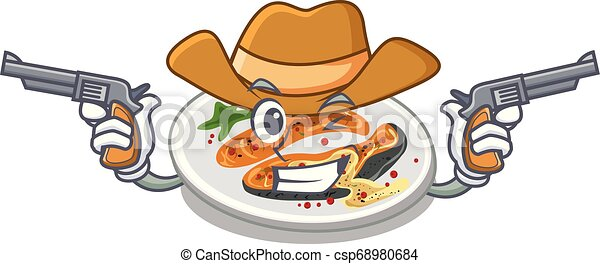 Cowboy grilled salmon isolated in the mascot - csp68980684