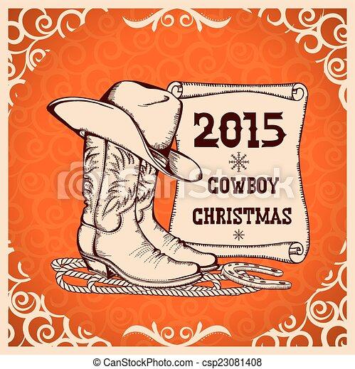 Cowboy, gruß, traditionelle , gegenstände, westlich, jahr, neu ...