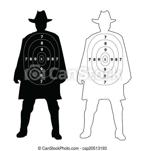Cowboy gun target on white csp20513193