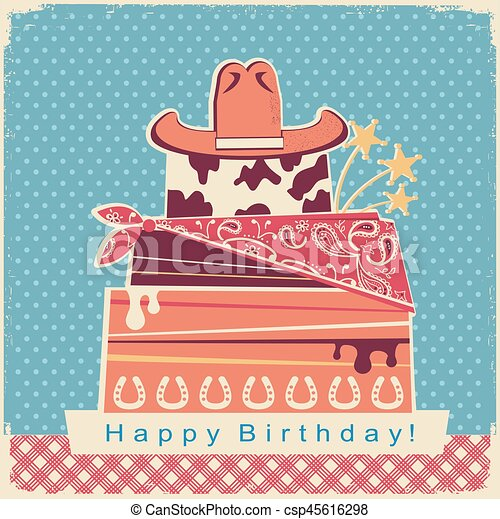 Cowboy Happy Birthday Party Card Background With Cake And Hat