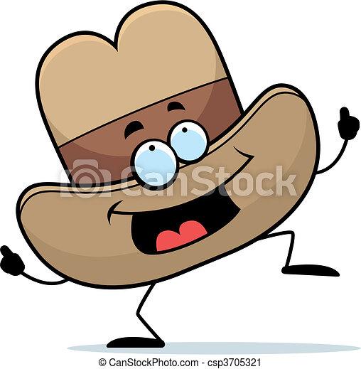 Cowboy hat dancing. A happy cartoon cowboy hat dancing and smiling. e01b60da0948