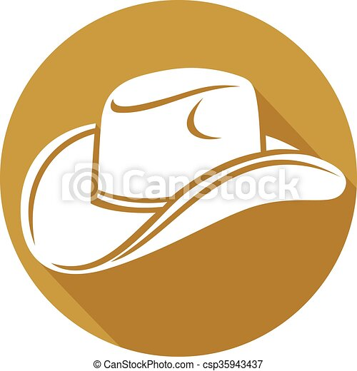 cowboy hat flat icon - csp35943437