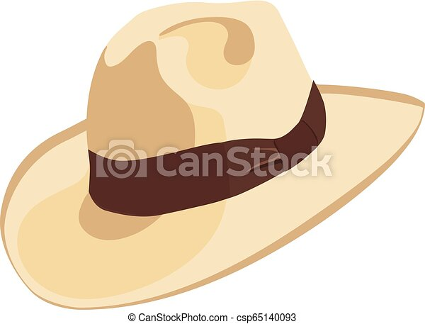 Cowboy hat icon with ribbon or hat band  Simple cartoon hat illustration   floppy hat  broad-brimmed hat,