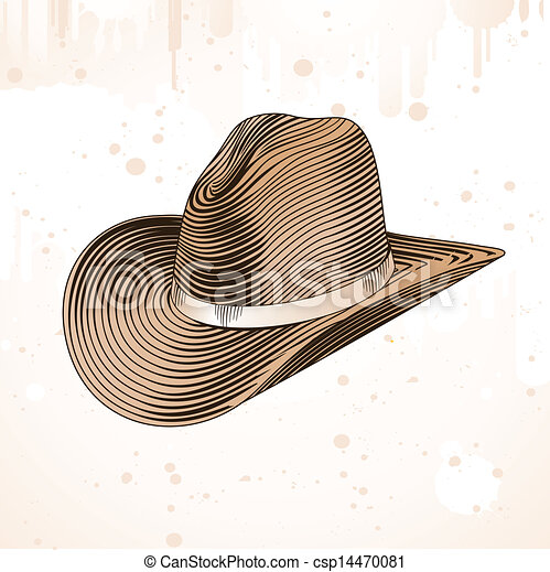 f7d94a63 Cowboy hat in engraving style - vector illustration.