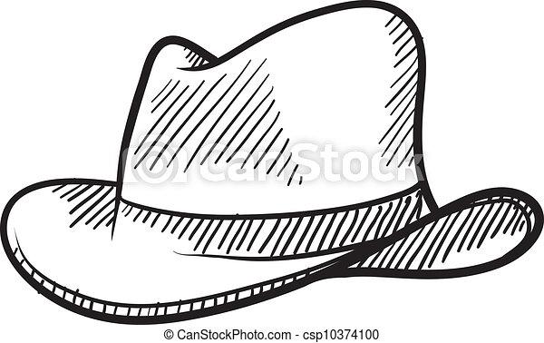 Cowboy hat or fedora sketch - csp10374100