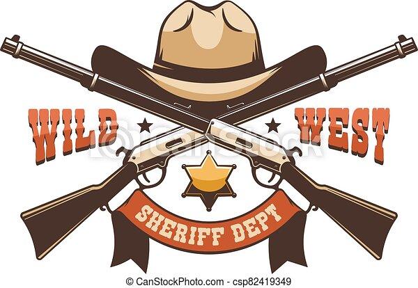 Cowboy hat, sheriff star and crossed rifles - wild west retro logo - csp82419349