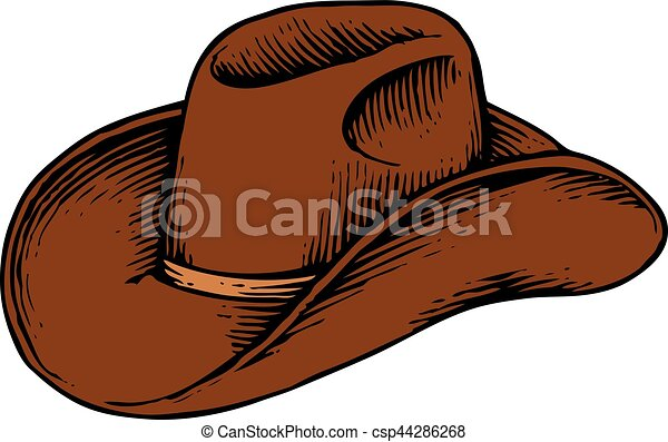 cowboy hat - vintage engraved vector illustration (hand drawn style) - csp44286268
