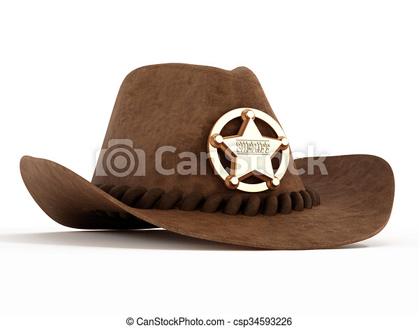 cf0b7d9238f Cowboy hat with sheriff badge isolated on white background.