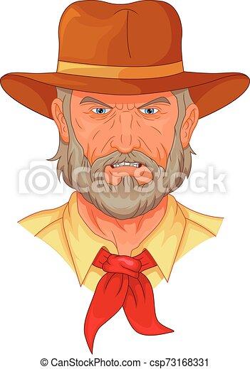 cowboy head mascot - csp73168331