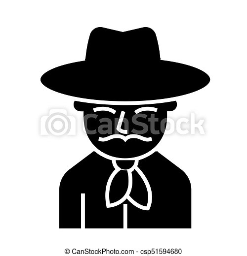 cowboy icon, vector illustration, black sign on isolated background - csp51594680