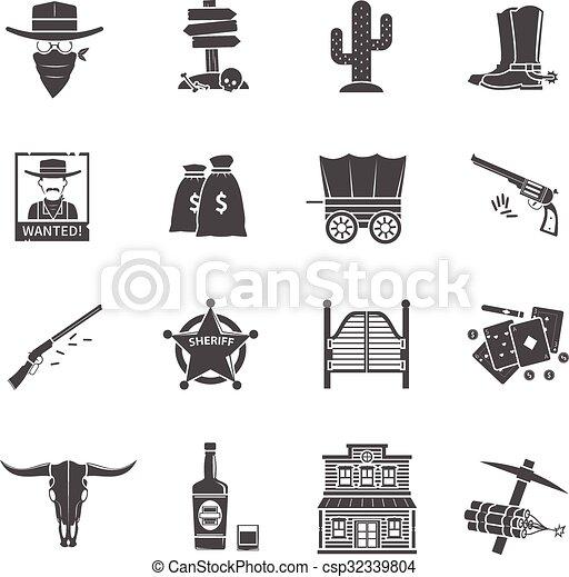 Cowboy Icons Set - csp32339804