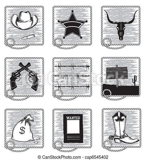 Cowboy life elements .Vector black silhouettes symbols on white - csp6545402