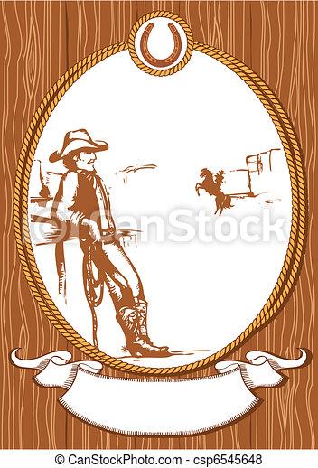cowboy, manifesto, cornice, corda, vettore, disegno, fondo - csp6545648