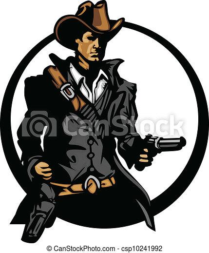 Cowboy mascot silhouette aiming guns. Graphic mascot image ...