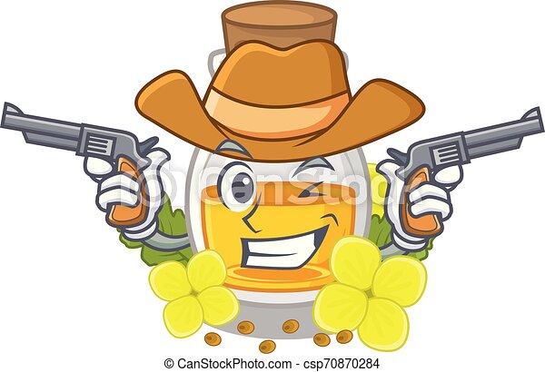 Cowboy mustard oil packaged in carton bottle - csp70870284