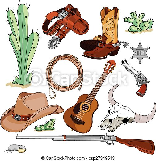 Cowboy objects set - csp27349513