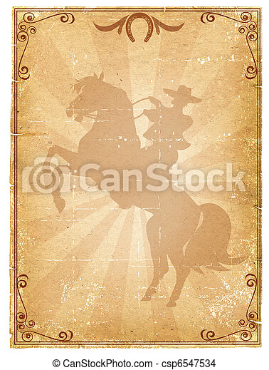 Cowboy old paper background .Retro rodeo poster  - csp6547534