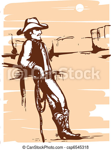 Cowboy on rancho with lasso.Vector graphic image - csp6545318