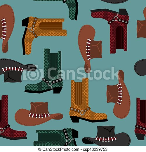 Cowboy pattern. Australian hat and crocodile leather boots. Western clothing and rodeo shoes background - csp48239753