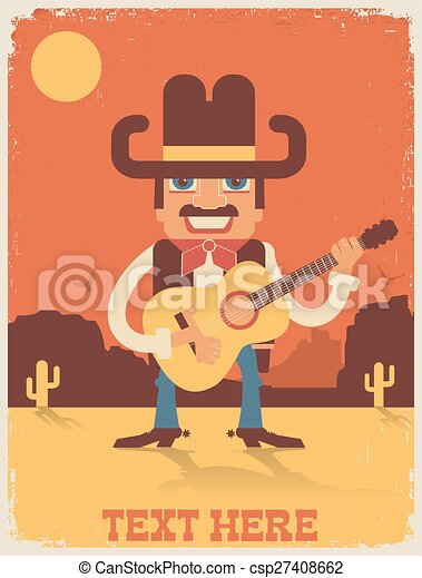Cowboy playing guitar. vector country music illustration ...
