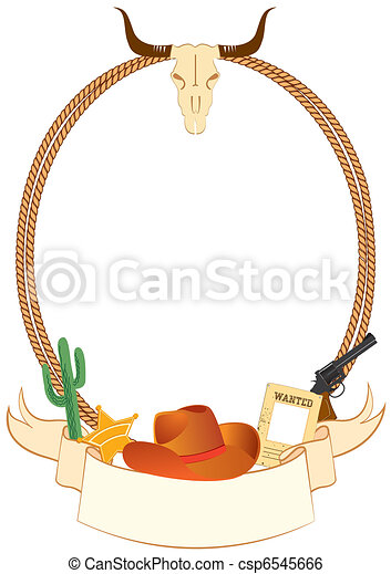 Cowboy poster background for design with cowboy elements. Vector - csp6545666