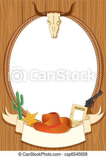 Cowboy poster background for design with vector cowboy elements - csp6545658