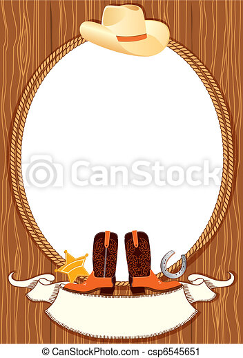 Cowboy poster background for design with cowboy elements. Vector - csp6545651