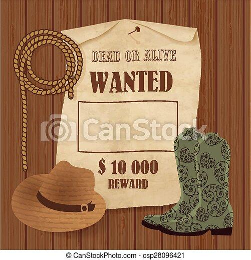 Cowboy poster. Wild west background for your design. Cowboy elements set. - csp28096421