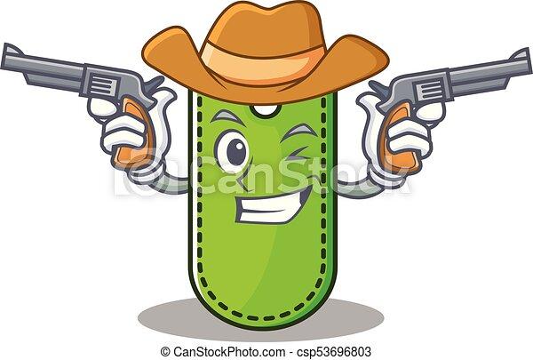 Cowboy price tag character cartoon - csp53696803