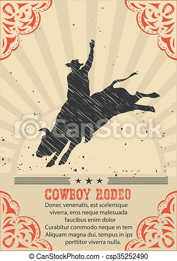 Cowboy riding wild bull. Vector western poster background - csp35252490