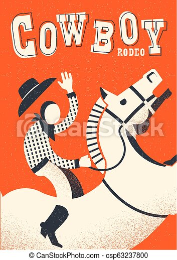 Cowboy riding wild horse. Vector red poster background - csp63237800