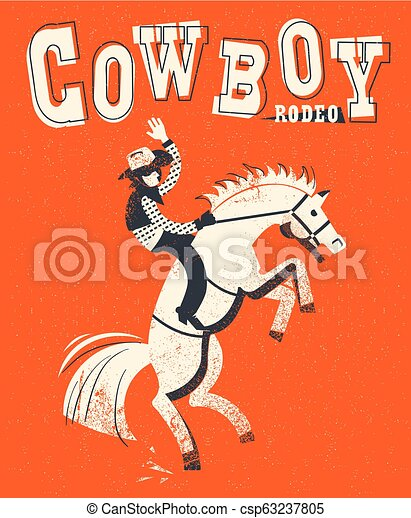 Cowboy riding wild horse. Vector red background illustration - csp63237805