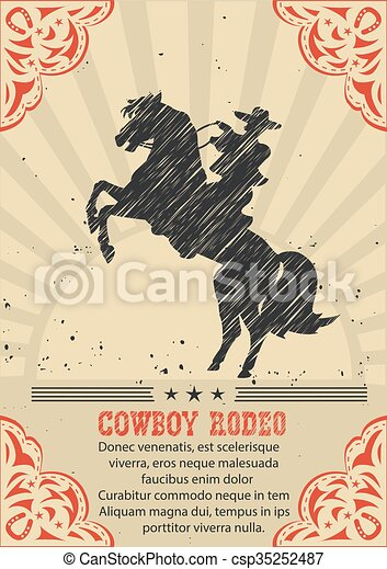Cowboy riding wild horse .Vector western poster background  - csp35252487
