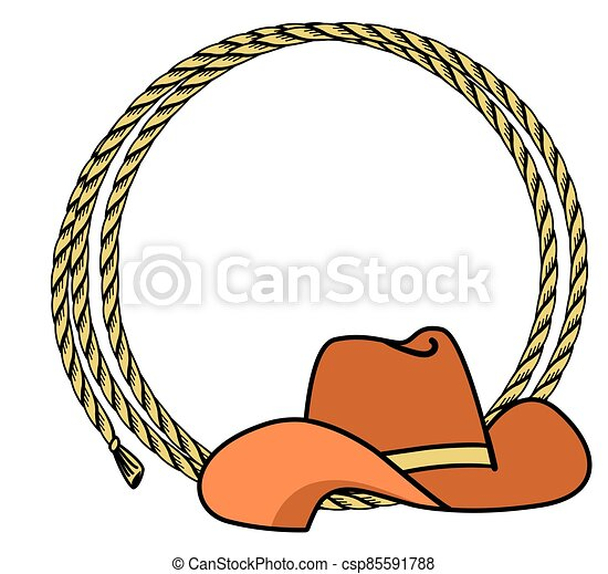 Cowboy rope frame with Western hat. Vector illustration cowboy background for text - csp85591788