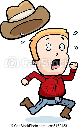 Cowboy running. A cartoon cowboy child running in fear. 4c6ba44f6448