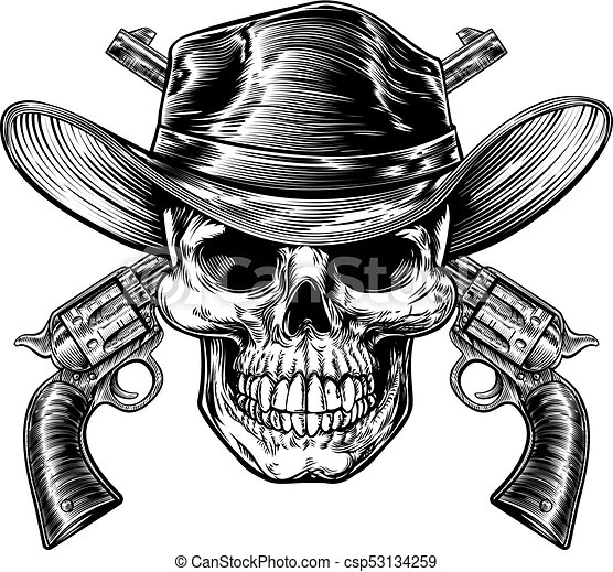 Cowboy skull and pistols. Skull cowboy in western hat and a pair of ... 086ebbba311e
