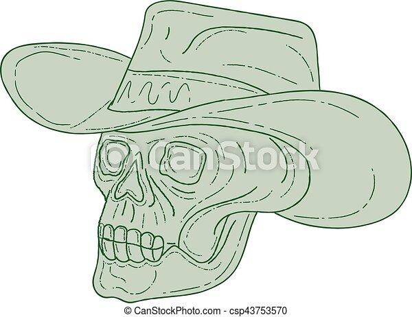 Cowboy Skull Drawing - csp43753570