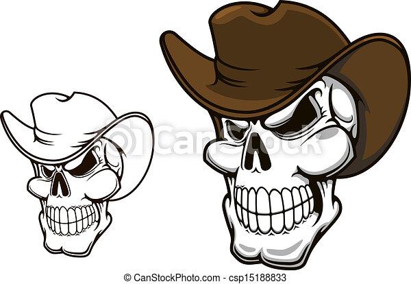 Cowboy skull in hat - csp15188833