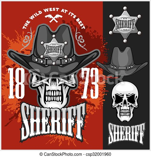 Cowboy Skull in the Hat and Sheriffs star - csp32001960