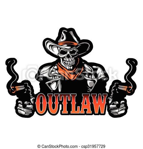 Cowboy Skull With Revolver - csp31957729