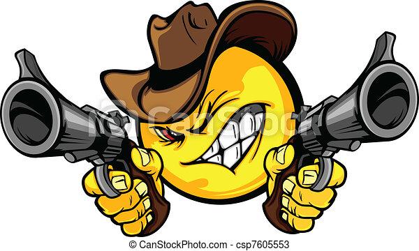 Cowboy Smiley Vector Illustration - csp7605553