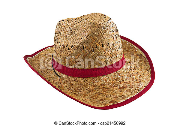 8ef7a97f819 Traditional american cowboy straw hat isolated on white background. farmer  accessory.