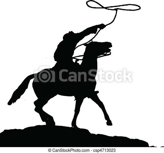 cowboy vector silhouettes - csp4713023
