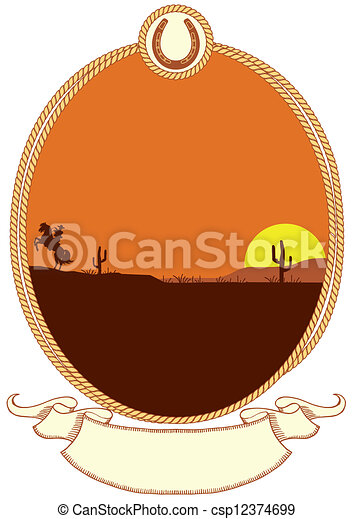 Cowboy western background with rope frame for design. Cowboy western ...